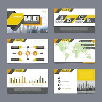 De presentatiemalplaatjes van het bedrijf die op grijze achtergrond vlakke geïsoleerde vectorillustratie worden geplaatst