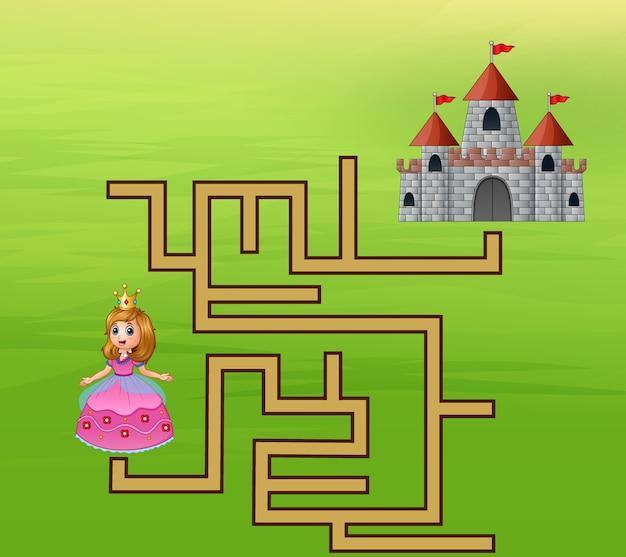 De prinses op zoek naar de weg naar het kasteel