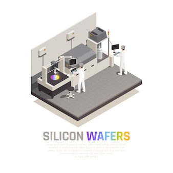 De productie isometrische samenstelling van de halfgeleiderchip met bewerkbare teksten en mensen die hi-tech robotachtige manipulators vectorillustratie in werking stellen