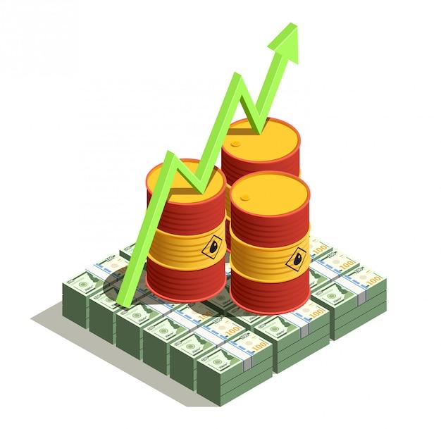 De productie van olie-aardolie-industrie profiteert van een isometrische samenstelling met dollarbankbiljetten en een pijl voor de groei van de vatwaarde
