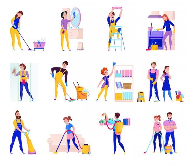 De professionele schoonmakende dienst plichten vlakke die pictogrammen met planken worden geplaatst die de vloeren van de douchewas afstoffen stofzuigen geïsoleerde illustratie
