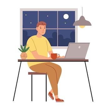 De programmeur werkt 's nachts
