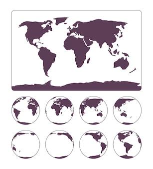 De projectie van de wereldkaart toont het oppervlak van de aarde en de aarde