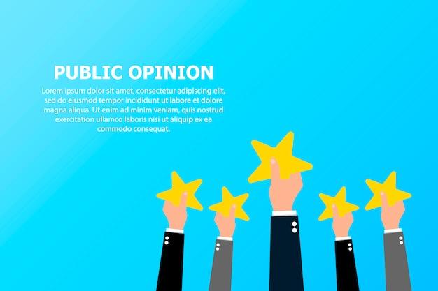 De publieke opinie van veel mensen en de tekst links bovenaan.