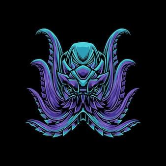 De purpere blauwe illustratie van de octopust-shirt