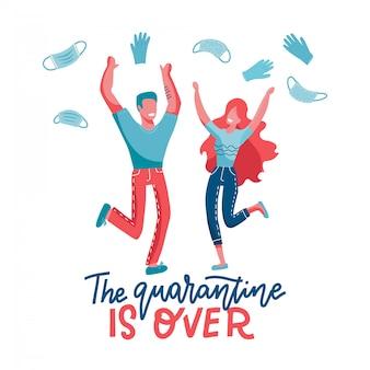 De quarantaine is overbeletterd concept. einde van pandemie. blije man en vrouw springen en opstijgen en weggooien masker een handschoenen. vlakke afbeelding