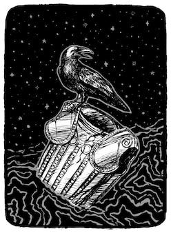 De raaf zit op een oud pantser. hand getekend vectorillustratie in zwart-wit kleuren. abstracte retro grafische tekening geïsoleerd op wit. enkel element voor ontwerp, decor.
