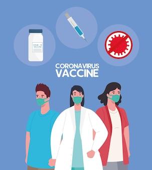 De race tussen land, voor het ontwikkelen van coronavirus covid19-vaccin, vrouwelijke arts met patiënten en de illustratie van vaccinpictogrammen