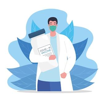 De race tussen landen, voor het ontwikkelen van coronavirus covid19-vaccin, arts met medisch masker met flaconillustratie