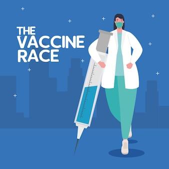 De race tussen landen, voor het ontwikkelen van coronavirus covid19-vaccin, vrouwelijke arts met spuitillustratie
