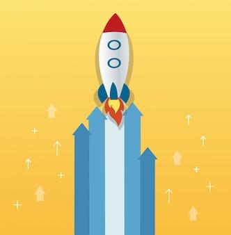 De raket op pijlpictogram