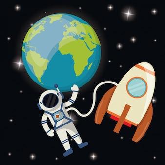 De raketruimte van de aardeastronaut