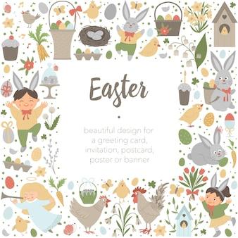De randen van het frame van de vierkante lay-out van pasen met konijntje, eieren en gelukkige die kinderen op witte achtergrond worden geïsoleerd. christelijke vakantiebanner of uitnodiging met plaats voor tekst. leuke lente kaartsjabloon.
