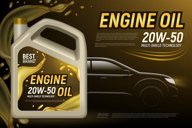 De realistische achtergrond van het silhouetadvertenties van de motorolie met bewerkbare teksten en samenstelling van de beeldenillustratie van het productpakket