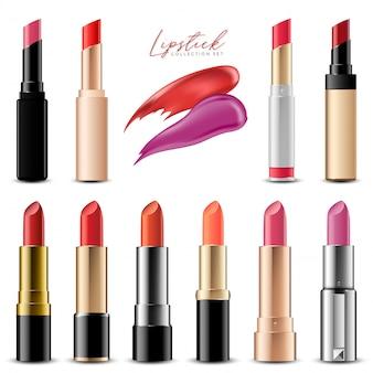 De realistische kleurrijke reeks van de lippenstiftinzameling, vectorillustratie