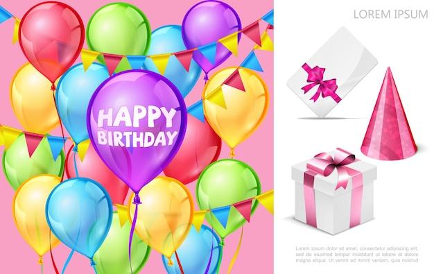 De realistische samenstelling van de verjaardagspartij met kleurrijke ballonslinger van de de uitnodigingskaart van de de kegelhoed huidige doosillustratie Premium Vector