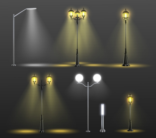 De realistische samenstelling van straatlantaarns die met zes verschillende stijlen en licht van bollenillustratie wordt geplaatst