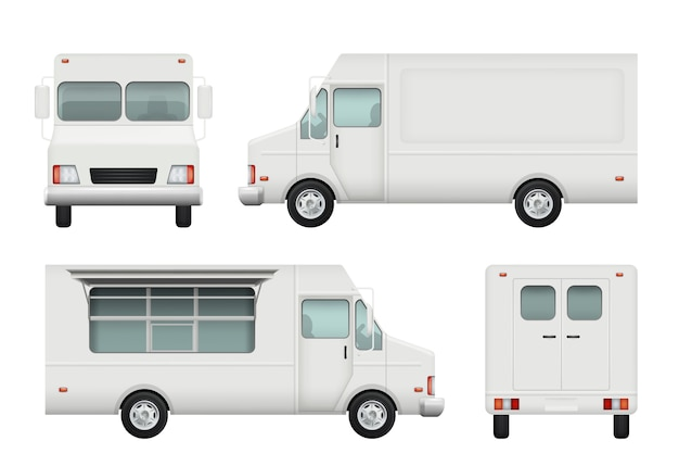 De realistische, witte auto van de voedselvrachtwagen van 3d de leveringscatering van het straatvoedsel