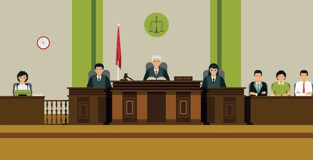 De rechter en de jury zitten op de troon in de rechtszaal