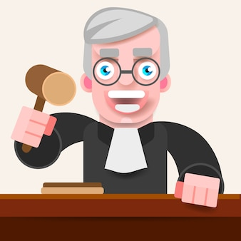 De rechter houdt de hamer vast om te oordelen.