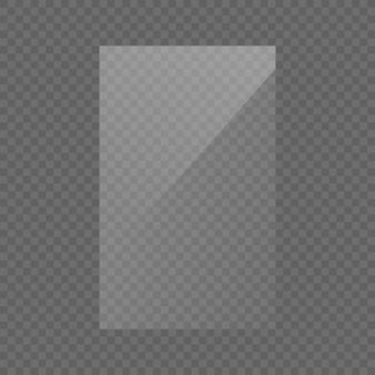 De rechthoekige glasplaat, spiegel, ramen. glazen platen of banners geïsoleerd op transparante achtergrond. lichteffect voor een foto of een spiegel