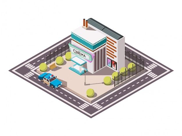 De reddingsdienst isometrisch plaatste met politiewagen dichtbij bioskoop 3d vectorillustratie