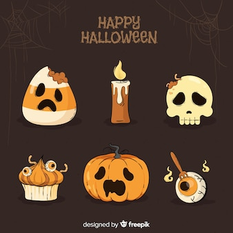 De reeks elementen van halloween overhandigt getrokken stijl