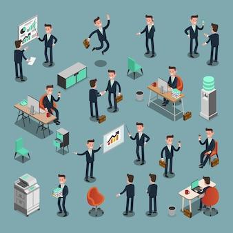 De reeks isometrische bedrijfsmensen in bureau, deelt idee, informatie grafisch vectorontwerp