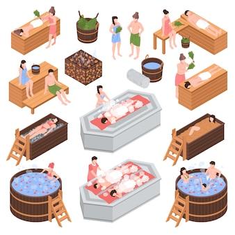 De reeks isometrische elementen van het badhuis en menselijke karakters tijdens lichaams schoonmakende procedure isoleerde vectorillustratie