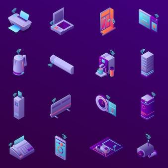 De reeks isometrische pictogrammen met iot technologie voor bedrijfsbureau isoleerde vectorillustratie