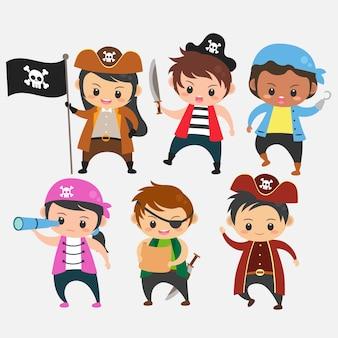 De reeks kinderen draagt de vector van de het kostuumillustratie van piraten