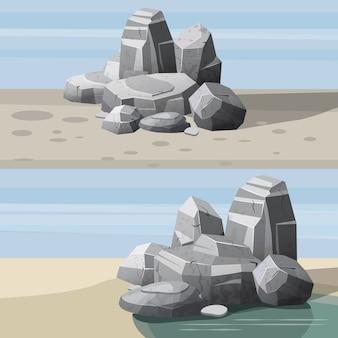 De reeks landschappen van woestijn schommelt stenen