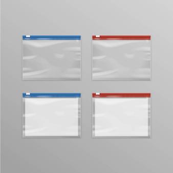 De reeks rood blauw verzegelde lege transparante plastic ritszakken sluit omhoog geïsoleerd op achtergrond