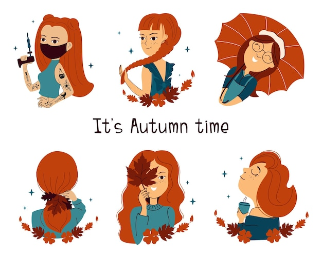 De reeks roodharige meisjes de tekenfilmvrouwen zijn goed voor het ontwerpen van logostickers in de herfst