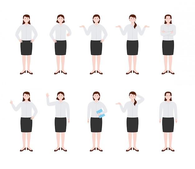 De reeks van bedrijfsvrouwenkarakter met verschillend stelt en overhandigt gebaren, vectorillustratie