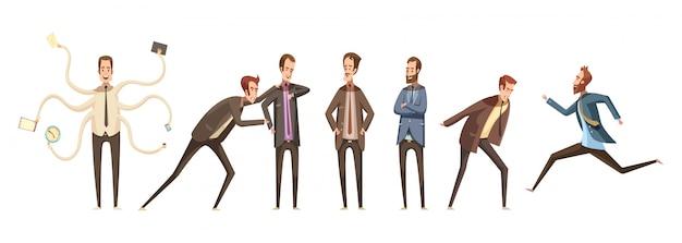 De reeks van de karakters decoratieve pictogrammen van beeldverhaalkarakters van mannelijke groep die en verschillende emoties communiceren uitdrukken