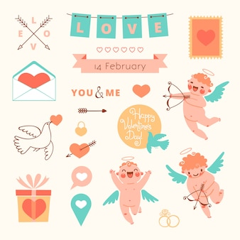 De reeks van de valentijnskaartendag elementen voor ontwerp.