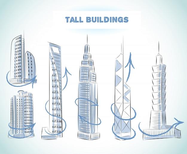 De reeks van gebouwenpictogrammen van moderne wolkenkrabbers geïsoleerde schets