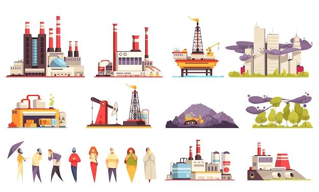 De reeks van het industriële gebouwenbeeldverhaal fabriekenoliecentrales olie offshore platform geïsoleerde illustratie
