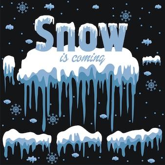 De reeks van witte sneeuw komt ontwerpelement op blauwe achtergrond