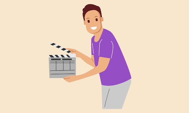 De regisseur van de filmfilm houdt een dakspaan omhoog