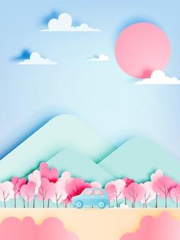De reis van de weg met auto in lentetijd en het natuurlijke van de pastelkleurregeling achtergronddocument sneed stijl vectorillustratie