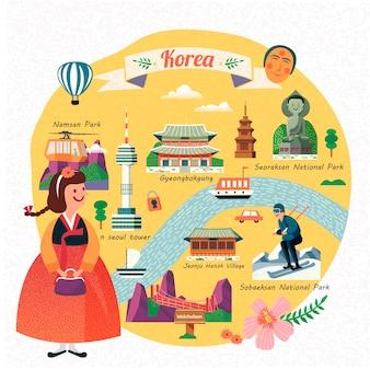 De reisillustratie van korea, mooi meisje dat hanbok draagt en beroemde oriëntatiepunten in korea ziet,