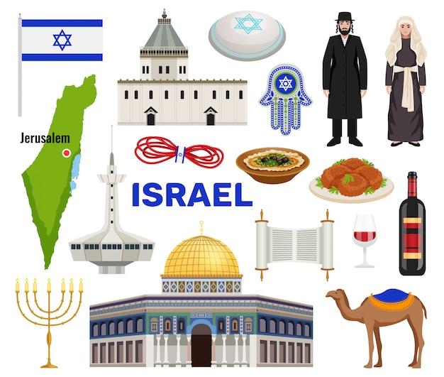 De reispictogrammen van israël met cultuur en keukensymbolen worden geplaatst isoleerden vlak illustratie die
