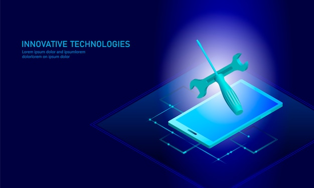 De reparatie isometrische smartphone van de computerdienst, 3d blauwe vlak technisch