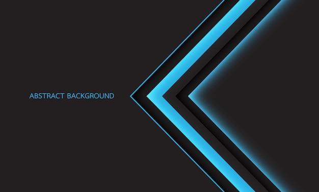De richting van de abstracte blauwe lichte schaduwpijl op donkergrijs met lege ruimte moderne futuristische achtergrond