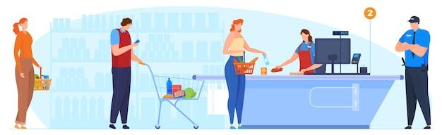De rij bij de kassa in de supermarkt, de kassamedewerker neemt de goederen aan, de bewaker bewaakt de bestelling in de supermarkt. vector illustratie