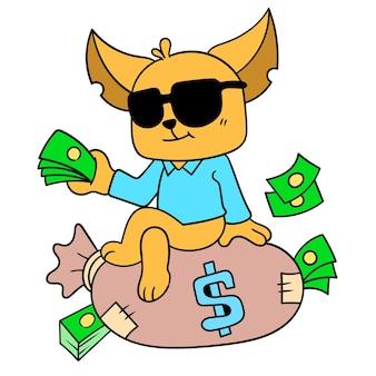 De rijke kat droeg een zak geld, vectorillustratieart. doodle pictogram afbeelding kawaii.