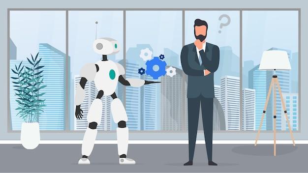 De robot biedt een oplossing. zakenman met een vraag. mensen en robots teamwork concept. vector.