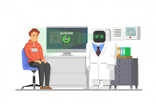 De robot diagnosticeert de ziekte van een patiënt
